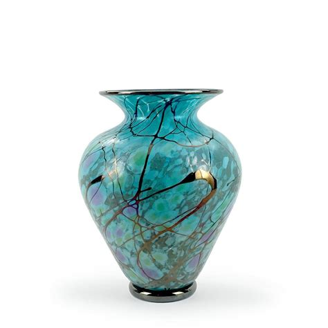 Handcrafted Glass - handcrafted glass wide serenity vases by david lindsay