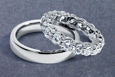 his and hers platinum wedding bands onewed
