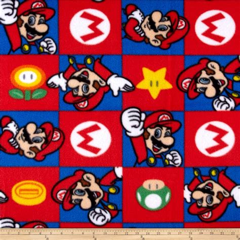 Brown And Blue Home Decor Nintendo Super Mario Fleece Hands Up Red Discount