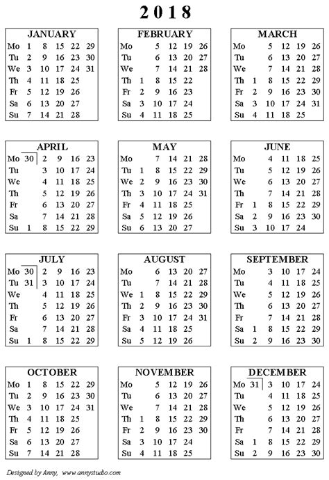 year 2018 calendar free download template