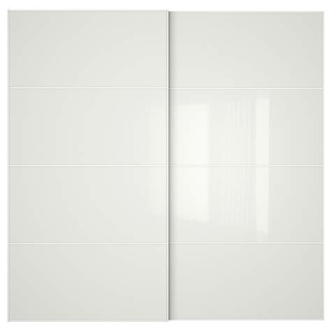 White Glass Doors F 196 Rvik Pair Of Sliding Doors White Glass 200x201 Cm Ikea