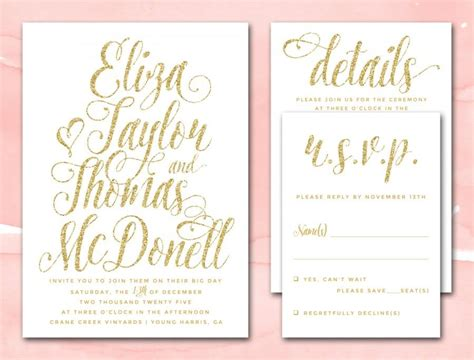 printable wedding invitations gold gold glitter wedding invitations printable diy wedding