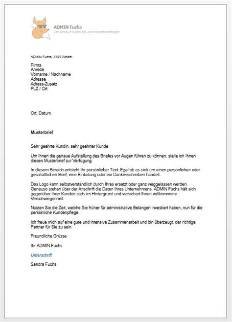 Musterbriefe Korrespondenz Admin Fuchs Korrespondenz
