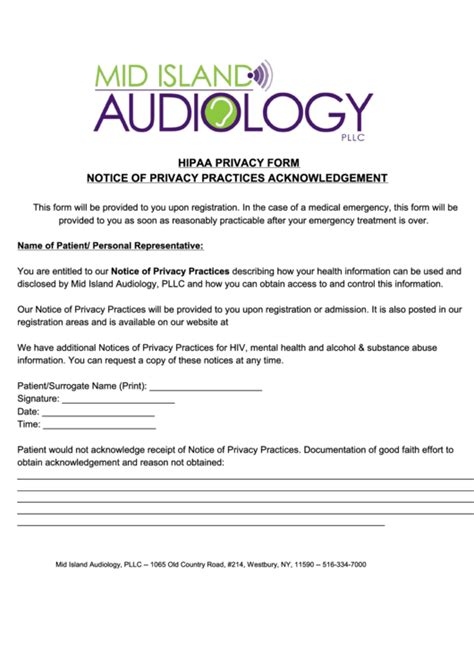 Hipaa Privacy Form Notice Of Privacy Practices Acknowledgement Printable Pdf Download Notice Of Privacy Practices Acknowledgement Form Template