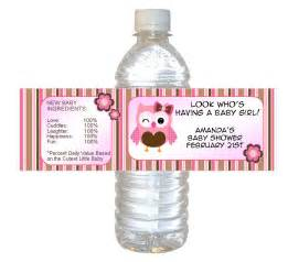 personalized water bottle labels baby shower personalized pink owl baby shower waterproof water bottle
