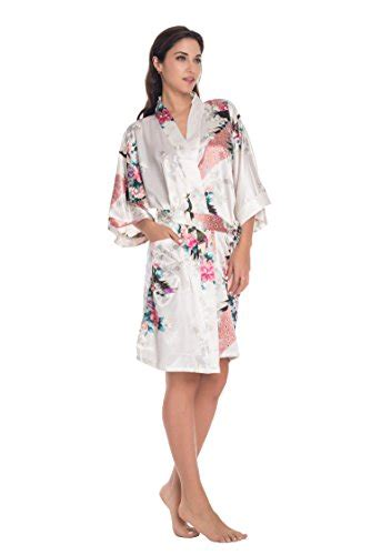 kimono collar pattern thebund women s short bath robes with peacock printing