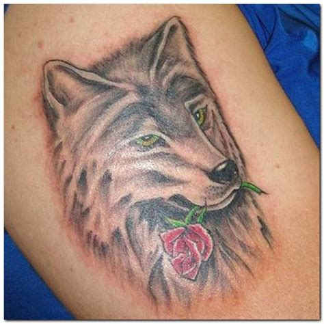 wolf with rose tattoo wolf tattoos page 10