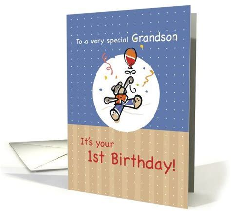 Birthday Card For Grandson 1st Birthday Grandson 1st Birthday Card