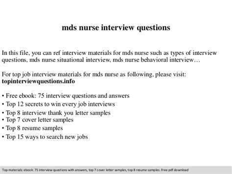 Mds Cover Letter by Mds Questions
