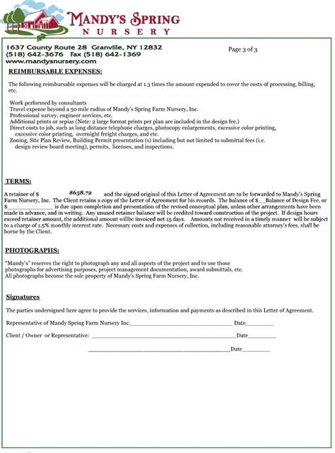Contract Letter Sle Format Letter Of Agreement Design