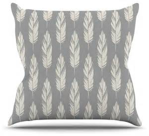 Grey Throw Pillows Amanda Quot Feathers Gray Quot Grey Pattern Throw