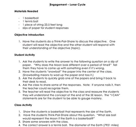 5e learning cycle lesson plan template free lunar cycle 5e science lesson for middle school