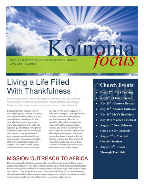 sun rays church newsletter template newsletter templates