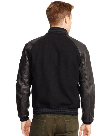 Jaket Varsity Brown lyst polo ralph wool varsity jacket in brown for