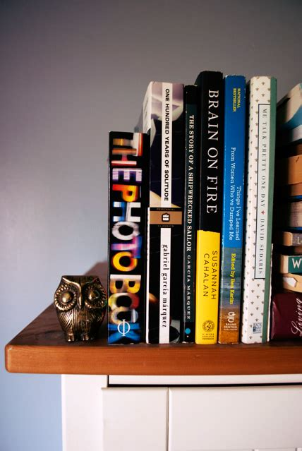 bookshelf report books knick knacks and a cat