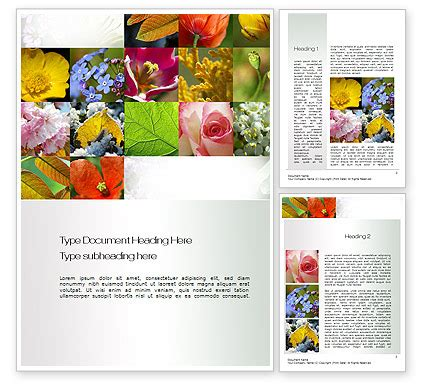 flowers collage word template poweredtemplate com