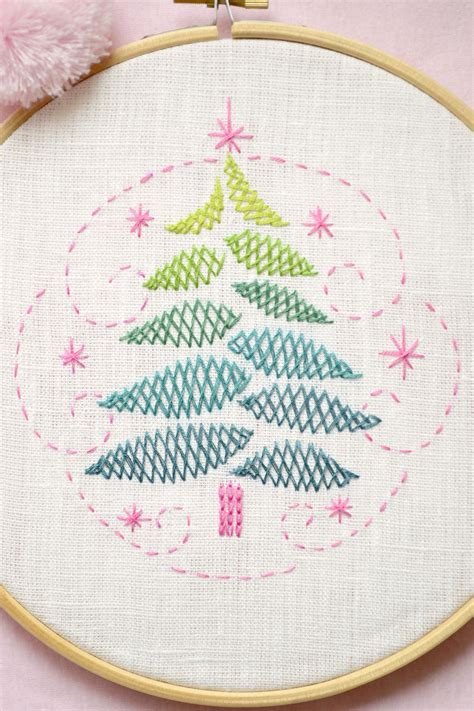 christmas tree hand embroidery pattern christmas tree christmas diy gift hand embroidery