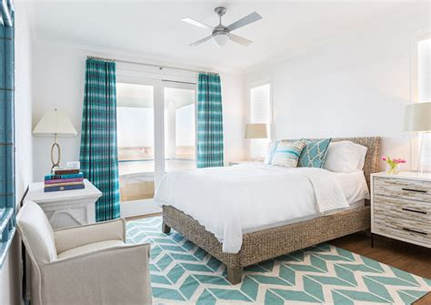 turquoise white bedroom white wall color scheme and modern bedding sets in beach