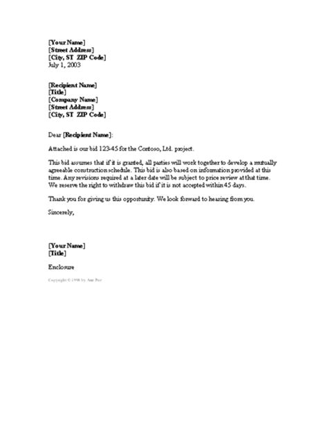 Bid Letter Exles Cover Letter For Project Bid Cover Letters Templates