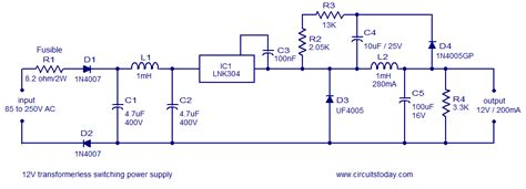 switch mode power supply circuit diagram transformerless switch mode power supply circuit circuit