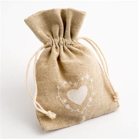 heart design hessian favour bags at favour this