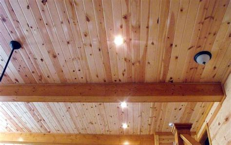 interior pine wood paneling clear family room ceiling