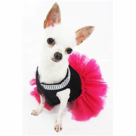 chihuahua puppy clothes black pink tutu dresses with bling bling handmade crochet