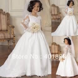 aliexpress com buy 2014 beautiful long sleeve lace applique long tail white kids wedding