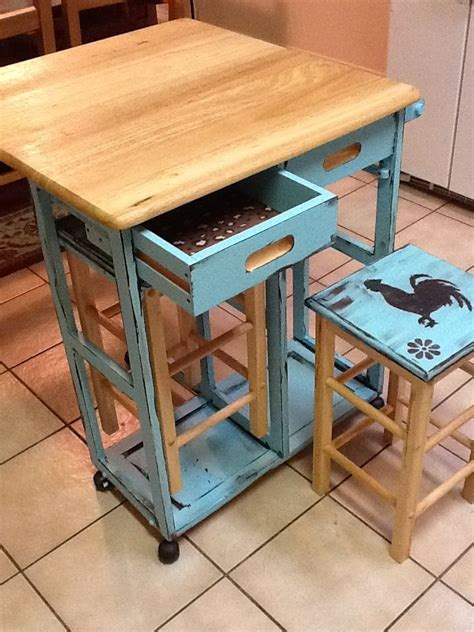 Movable Kitchen Islands With Stools Mobile Kitchen Island With Stowaway Stools And Foldable Top To Save Space Painted Turquoise