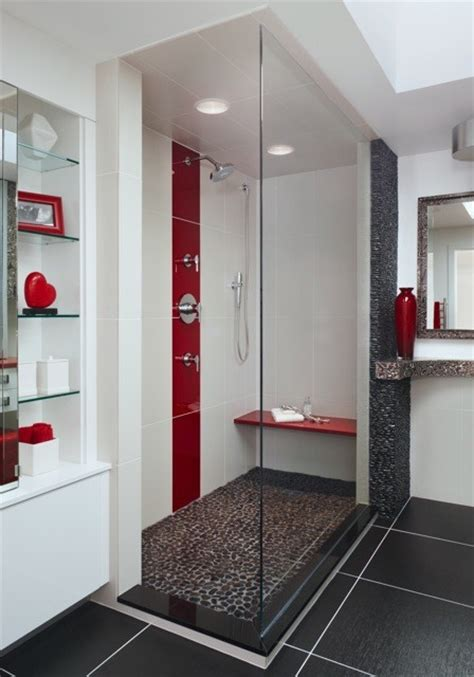 grey and red bathroom love the shower what type of tile is the red and white