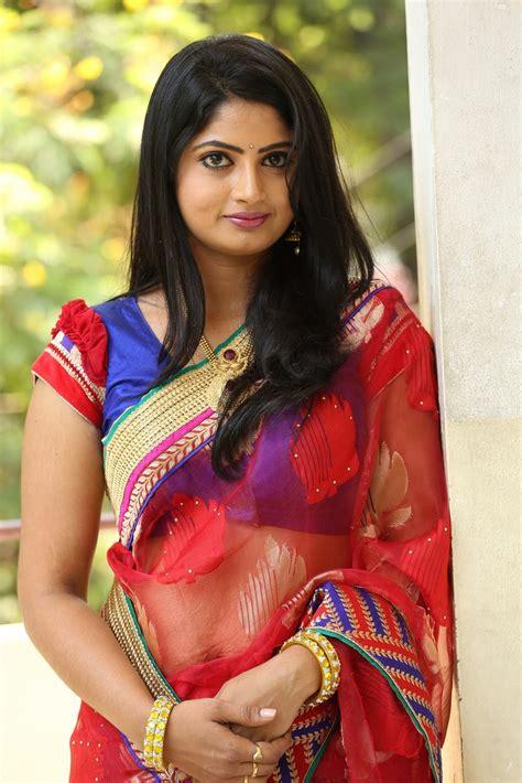 telugu heroines photos in saree telugu tv actress mounica hot photos in red saree