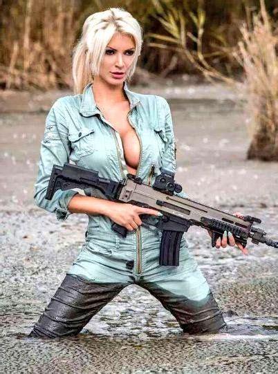 guns buns  military girl girl guns guns