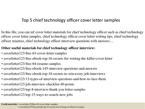 Transit Officer Cover Letter by Top 5 Chief Technology Officer Cover Letter Sles