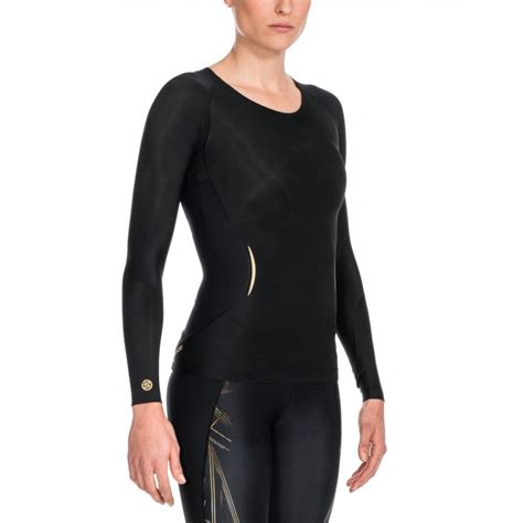 Skins A400 Womens Compression Long Sleeve Top Black Gold Black Sleeve