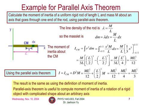 moment  inertia parallel axis theorem torque