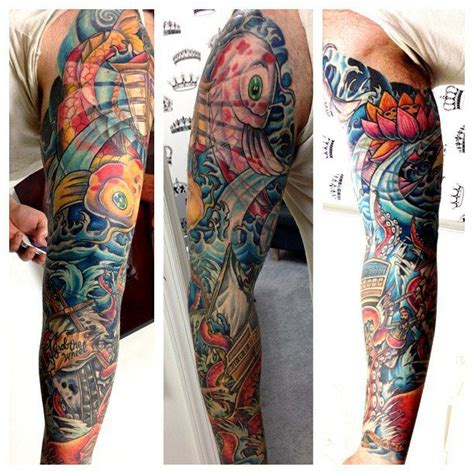 new school tattoo sleeve ideas men s full sleeve tattoo in a new school style with water