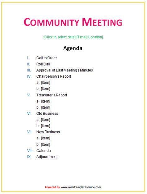 how to create a meeting agenda vertola
