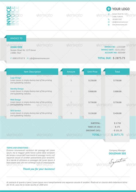 cool invoice template free cool invoices by oguzhansek graphicriver
