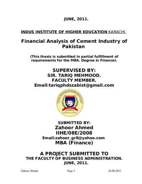 In Cement Industry For Mba Fresher by 58619593 Financial Analysis Thesis Fauji Cement
