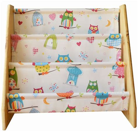 childrens wooden book sling bookcase with owl print fabric