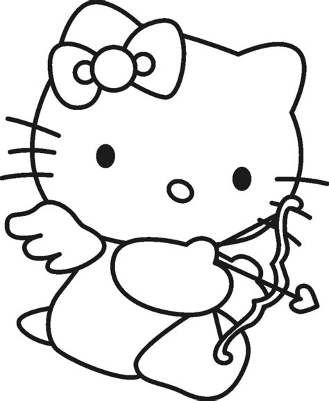 hello kitty coloring pages valentines day hello kitty cupid coloring page cartoon coloring pages