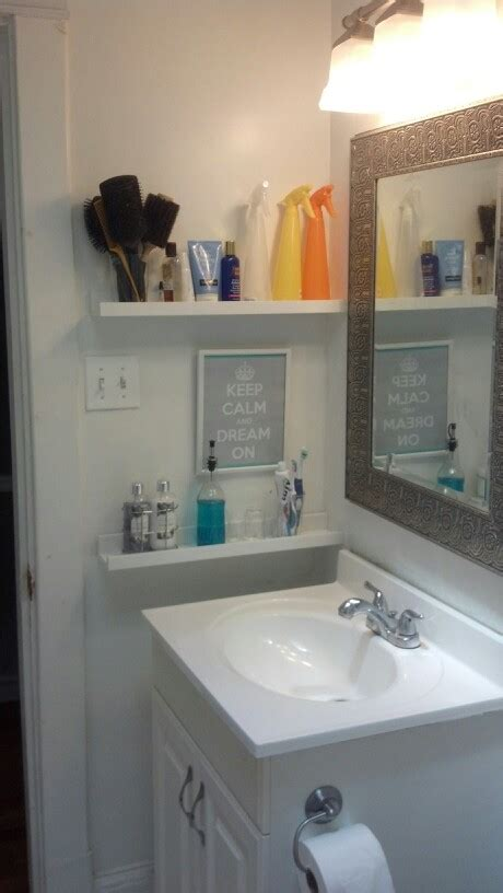 small bathroom shelves ideas small bathroom storage idea by the sink shelving home