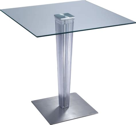 Glass Breakfast Bar Table Fashion Design Transparent Glass Top Square Bar Table Dining Breakfast Pub Tables Height
