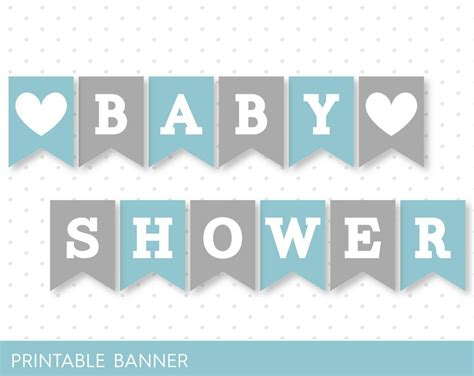 Printable Alphabet Letters For Baby Shower | blue banner grey banner oh baby banner oh boy banner