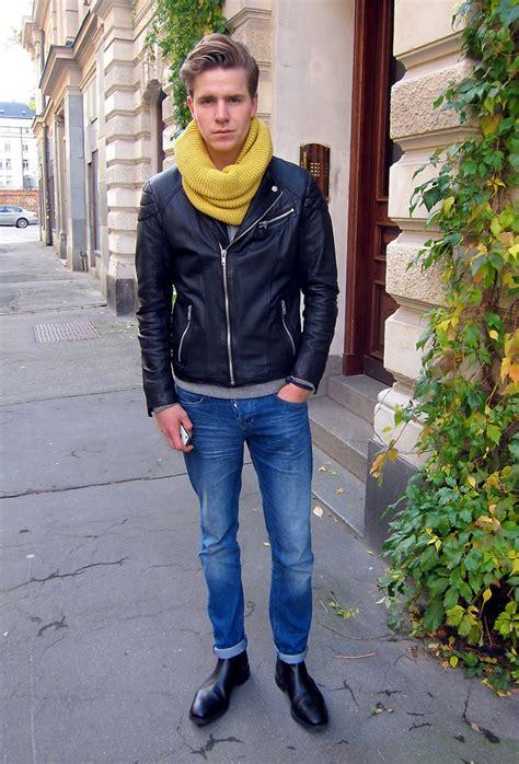Martin Hansson   Jofama Leatherjacket, Abrage Scarf, Mardou & Dean Jeans, Loake Shoes, Bottega