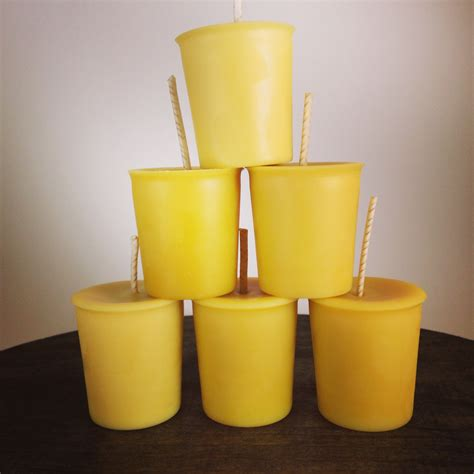 Handcrafted Candles - 6 handcrafted poured unscented beeswax votive candle