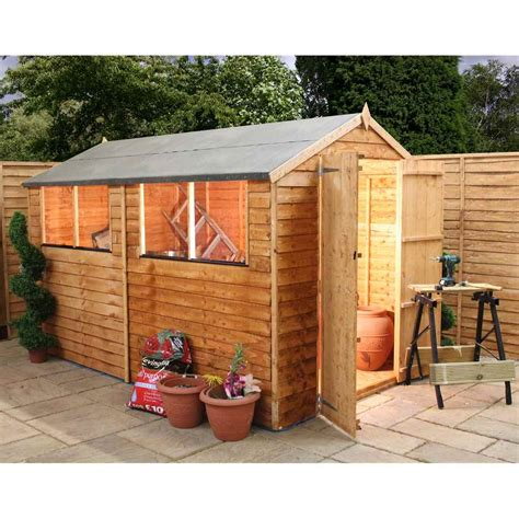 shedswarehouse oxford 10ft x 6ft saver overlap apex shed with doors 4