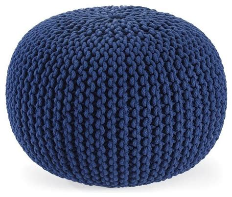Navy Pouf Ottoman Knitted Pouf Ottoman Navy Contemporary Floor Pillows And Poufs By Plow Hearth