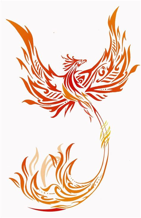 attractive orange and yellow tribal style phoenix tattoo