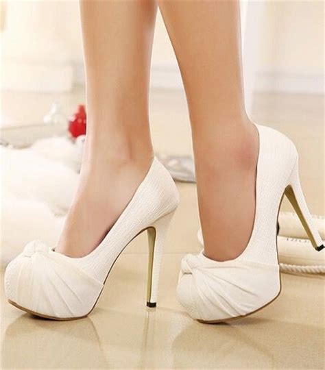 white high heels with bow 20 white wedding shoes brides wish they wore at their wedding